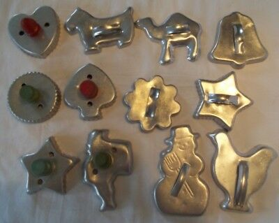 Vintage Metal Cookie or Biscuit Cutter Lot Strap or Wood Handle Christmas +Other
