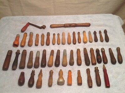 """Antiqu/vintage/old Large Lot Of Wooden Tool/file Handles Assorted Sizes 4"""" - 6"""""""