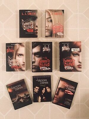 Lot of 6 Vampire Diaries Book Set Plus 1 & 2 Seasons Of The Tv Show EUC