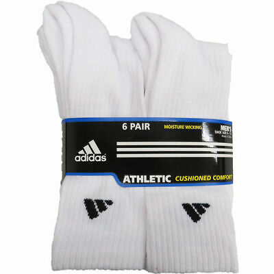 Adidas Men's 6 Pack Athletic Crew Socks Black White Fits 6-12
