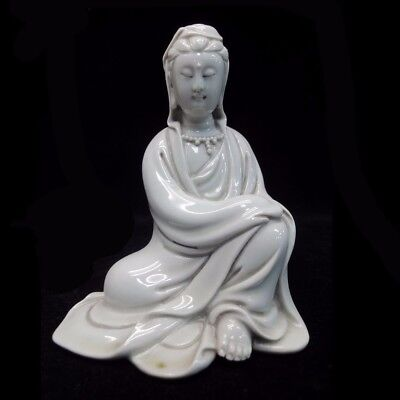 "Old Chinese White Glaze Porcelain ""GuanYin"" Buddha Sculpture Statue"