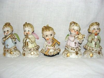 Vtg Lot of 5 AJAX Mid Century Christmas Angel Figurines China Band Foil Labels