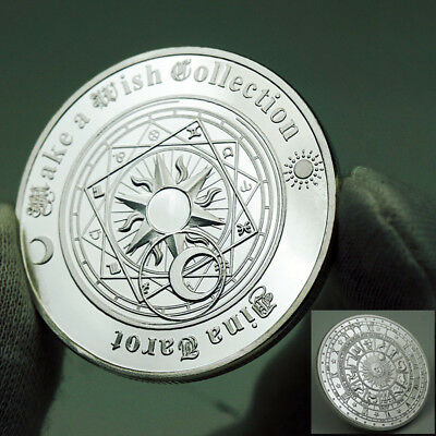 Tarot Sun Moon Geomancy Constellation Lucky Wish Silver Coin US Collectible GIFT