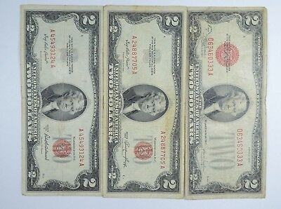 Lot (3) Red Seal $2.00 US 1953 or 1963 Notes - Currency Collection *082