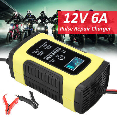 12V 6A Pulse LCD Smart Battery Charger For Car Motorcycle AGM GEL WET Lead Acid