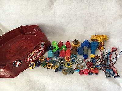 Huge Lot of BEYBLADE METAL FURY STADIUM, Launchers, Rip Cords & Spinners 68 Pc