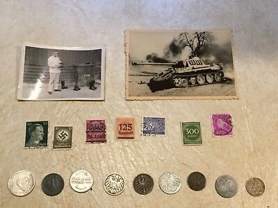 WW2 KGB SEIZED TANK photo Soldier SILVER 2 MARK Swastika1939 1941 Hitler stamp