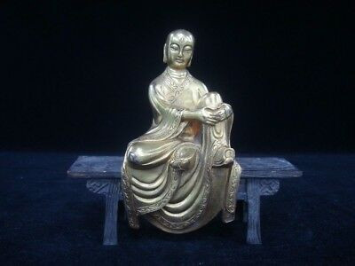 "Fine Old Chinese Gilt Bronze ""DiZangWang"" the King of the Inferno Buddha Statue"