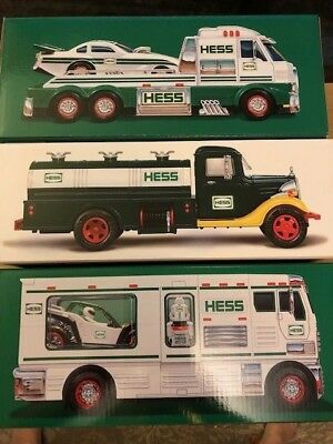 HESS Set (3) 2018 Collector's Edition, 2018 RV w. ATV and 2016 Truck & Dragster
