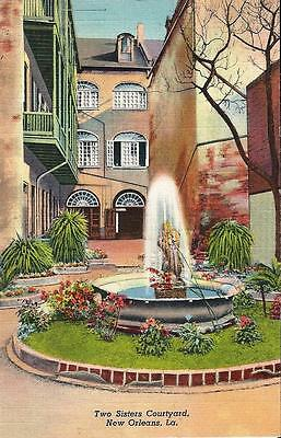 Postcard LA Louisiana New Orleans Two Sisters Courtyard 1940's French Qtr MINT