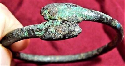 Ancient bronze two head serpent bracelet.  Believe to be Egyptian(Ptolemaic)