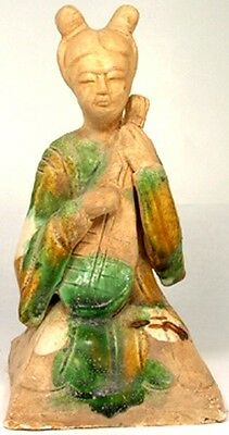 Tang China Female String Musician Sancai Glazed Ceramic Ancient Medieval 800AD