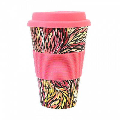 Aboriginal All Natural Bamboo Eco Travel/Coffee Mug (450ml) - Wild Flowers