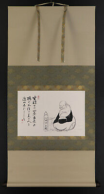 """JAPANESE HANGING SCROLL ART Painting """"Hotei"""" Asian antique  #E5004"""