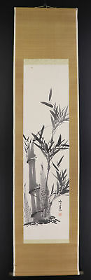 """JAPANESE HANGING SCROLL ART Painting """"Bamboo"""" Asian antique  #E5005"""