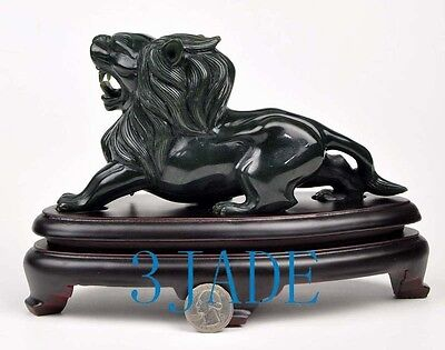 Hand Carved Natural Nephrite Jade Lion Statue Sculpture /Gemstone Animal Carving
