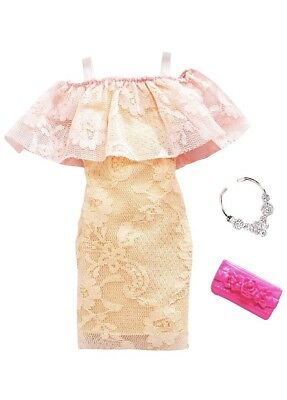 NEW! 2018 BARBIE COMPLETE LOOK FASHION PACK Two Tone Lace Dress +++