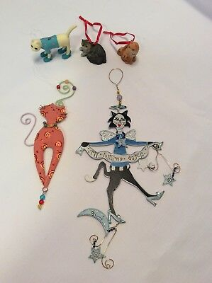 Lot Of 5 Kitty Cat Christmas Tree Ornaments