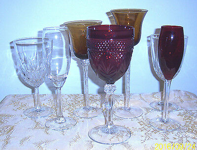 Crystal Wine Glasses and Hand Blown Glass Assortment 7 Pcs. Red Amber Clear
