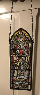 Architectural salvage Religious enameled stained glass window SunCatcher antique