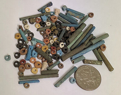 More than a Hundred 2500 Year old Ancient Egyptian Faience Mummy Beads (K1507)