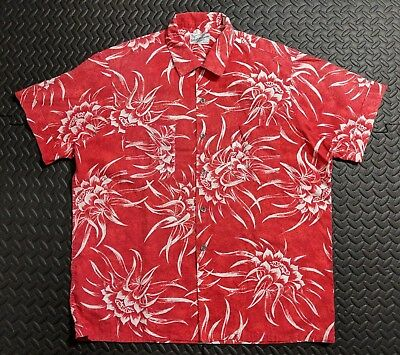 Vintage 1950s Duke of Hollywood Men's Floral Hawaiian Shirt sz LARGE Rockabilly