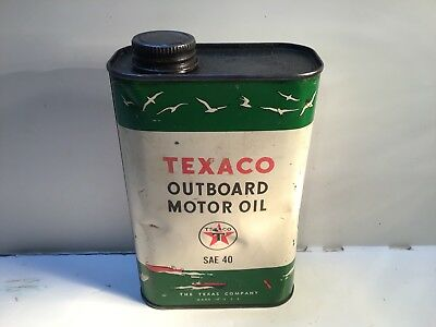 Vintage Texaco Outboard  Motor Oil Quart Can Metal gas rare sign tin handy Shell