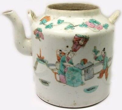 Antique 19th Century China Hand Painted Famille Rose Porcelain Teapot Park Motif