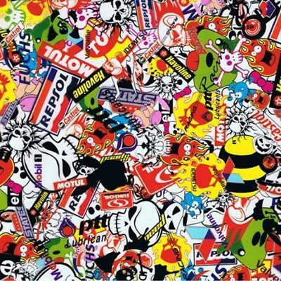 Sticker bomb hydrographic film hydro dipped 100cm width, various lengths