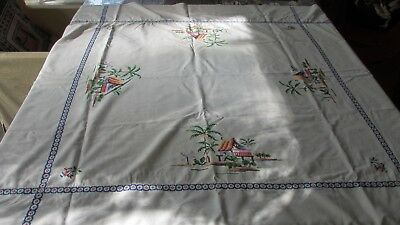 Vintage Antique Cross stitched Square Tablecloth lovely, 122 x 122 cms palms..