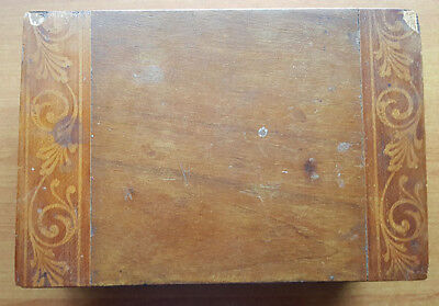 Wooden box with decorative veneer, old, slightly damaged but still charming