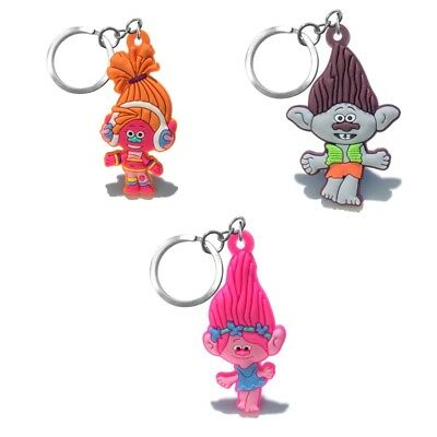 3PCS Trolls Chain Key Ring Kids Toy Key chain Key Holder Charms Party Small Gift