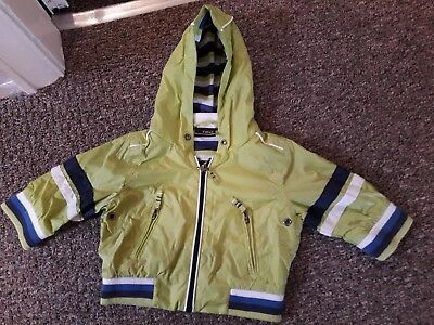 Baby Boys Next Jacket Coat Age 3-6 Months Lime Green Lined Waterproof