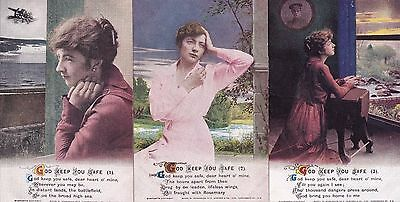 "WW1 Bamforth- ""GOD KEEP YOU SAFE""  'Song' Card  Set of three postcards."