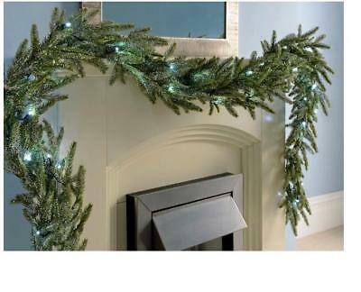 THE SEASONAL AISLE Illuminated Frosted Pre-Lit Fir Garland 274cm H 20cm