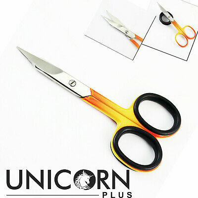 Professional Super Sharp Curved Edge Cuticle Nail Scissors Arrow Point Red Steel