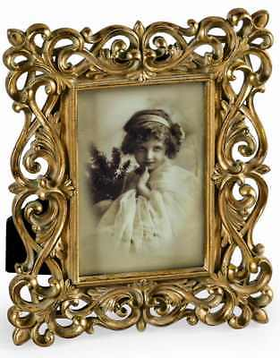 NEW Antique Gold Floral 5x7 Photo Frame Ornate Shabby Chic Picture Vintage UK
