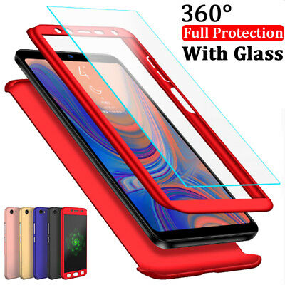 360° Full Cover Case + Tempered Glass For Samsung Galaxy A6 A8 Plus A7 A9 2018