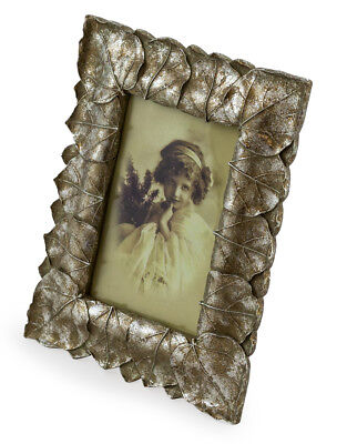 NEW Antique Silver Leaf 4x6 Photo Frame Ornate Shabby Chic Picture Small Vintage