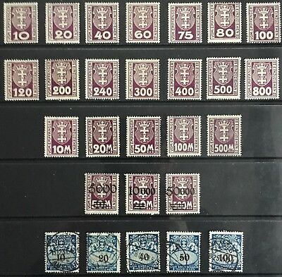 Germany - Free City of Danzig 1921-1923 Postage Due issues MLH & Used