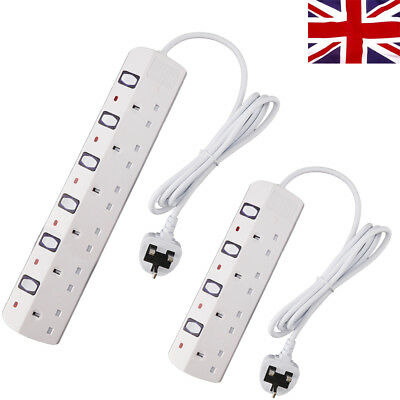 UK Extension Lead Cable Electric Mains Power  Gang Way Plug Socket 4 WAY / 6 WAY