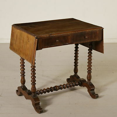 Small Writing Desk Walnut Manufactured in Italy Second Half of 1800