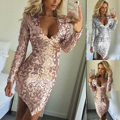 Fashion Sequins Sexy Women V Neck Bodycon Evening Party Cocktail Club Midi Dress