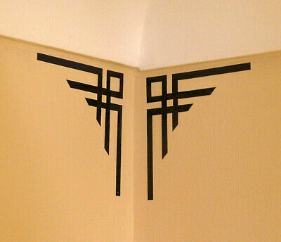 Pair of Art Deco Style Black Corner Wall Decals Decoration (25-05)