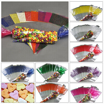 Plastic Cellophane Sweets Candy Wrappers Cone Shape For Diy