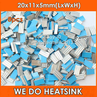 8pcs Aluminum 20x11x5mm IC CHIPs Heat Sink Cooler With Blue Thermal Stick Pad