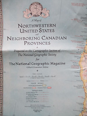 WW2 period Map of North Western United States and Neighbouring Canadian Province