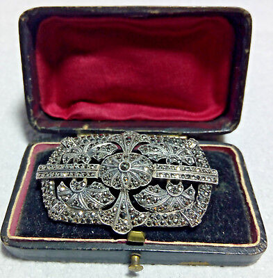 Antique Early 20th Century Art Deco Silver Marcasite Brooch