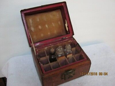 "Antique 1800's Apothecary Bottle Pharmacist Physician Drug Leather Case. "" Rare"""
