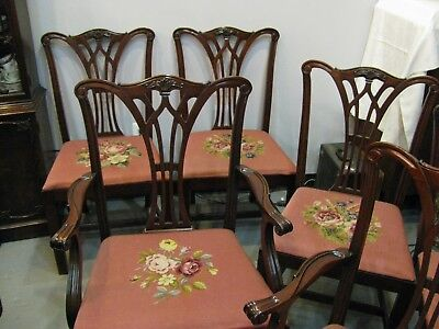 Mahogany Vintage Dining Room Chairs - SIX - Needlepoint - Very Sturdy - Pick Up